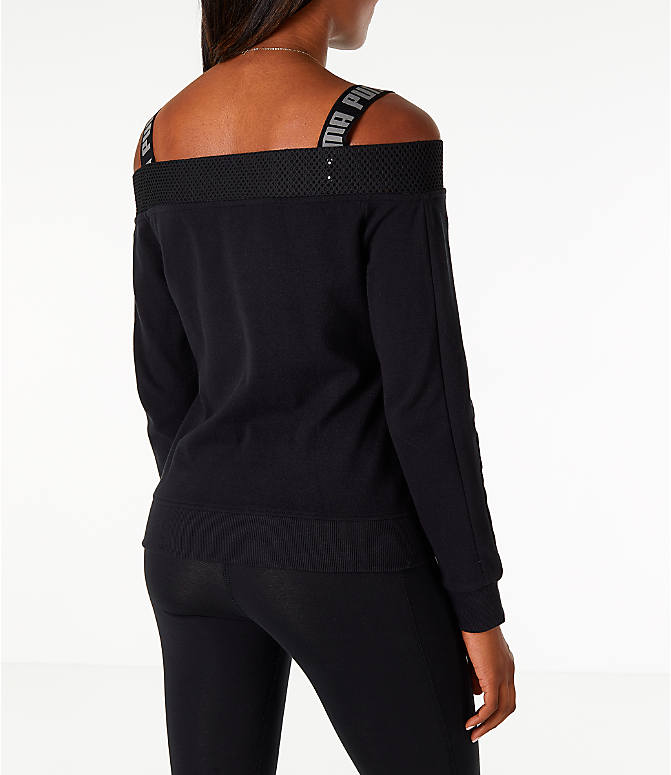 Back Right view of Women's Puma Off The Shoulder T7 Jacket in Black