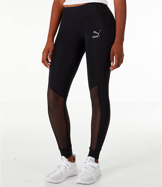 Front Three Quarter view of Women's Puma T7 Invisible Leggings in Black/Sheer