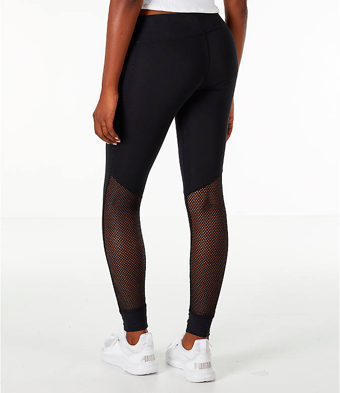 Back Left view of Women's Puma T7 Invisible Leggings in Black/Sheer