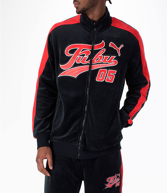 Front view of Men's Puma x Fubu T7 Track Jacket in Black/High Risk Red