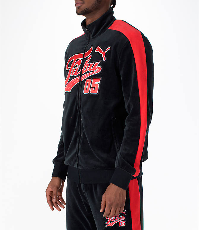 Front Three Quarter view of Men's Puma x Fubu T7 Track Jacket in Black/High Risk Red