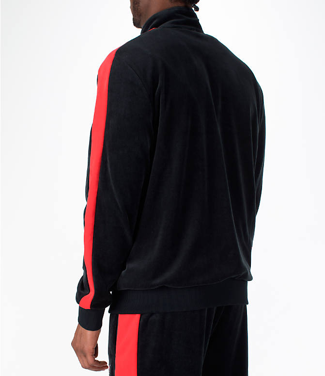 Back Left view of Men's Puma x Fubu T7 Track Jacket in Black/High Risk Red