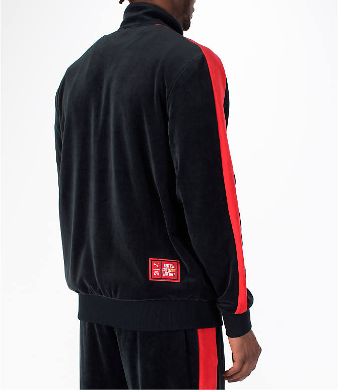 Back Right view of Men's Puma x Fubu T7 Track Jacket in Black/High Risk Red