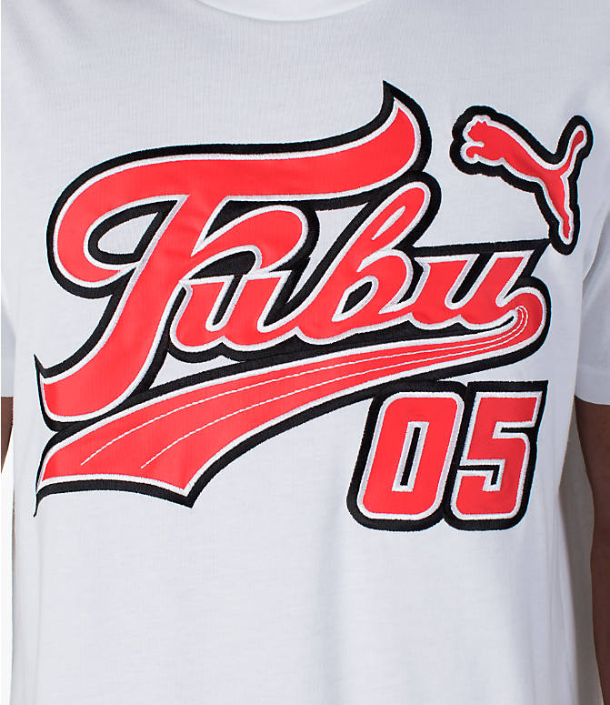Detail 1 view of Men's Puma x Fubu Logo T-Shirt in White/High Risk Red