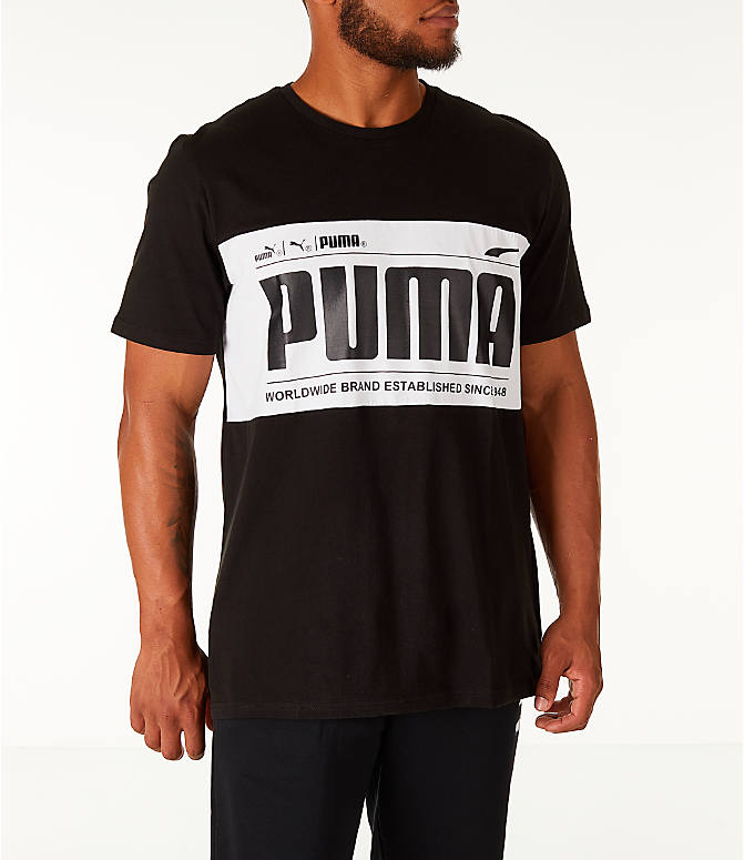 Front view of Men's Puma Graphic Logo Block T-Shirt in Puma White