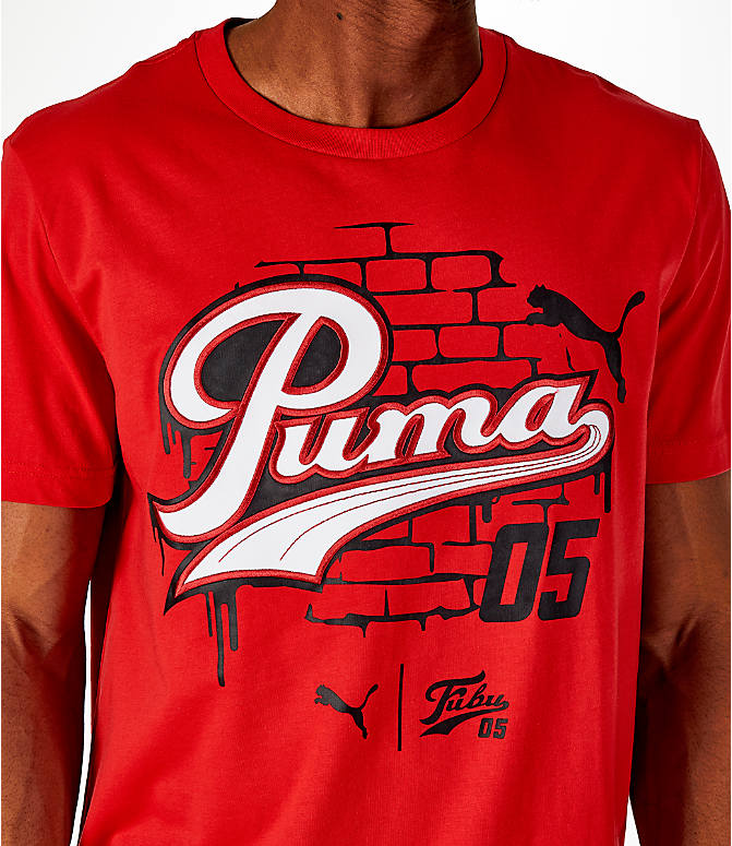 Detail 1 view of Men's Puma x Fubu Graphic T-Shirt in High Risk Red