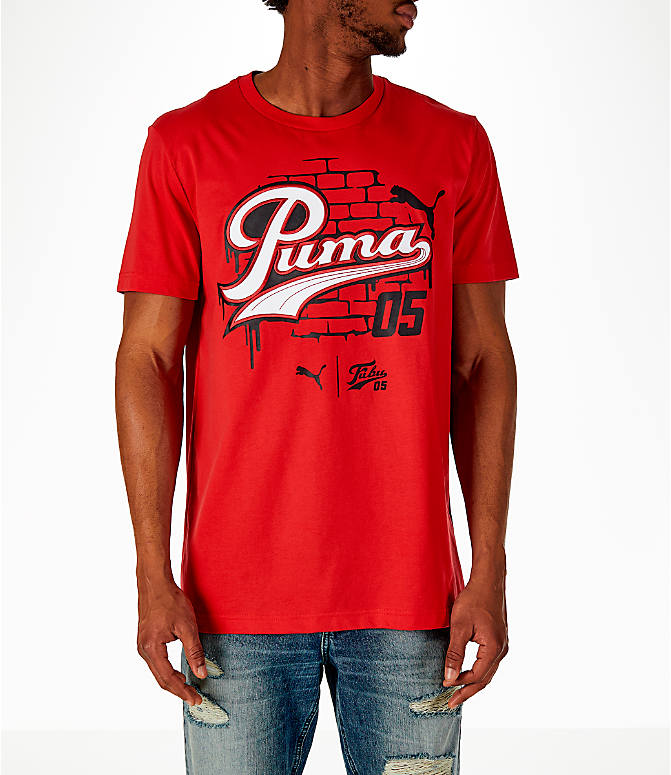Front view of Men's Puma x Fubu Graphic T-Shirt in High Risk Red