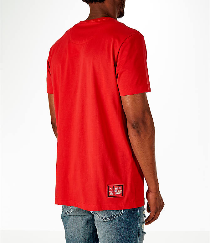 Back Right view of Men's Puma x Fubu Graphic T-Shirt in High Risk Red