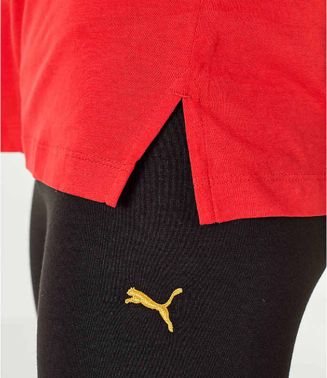 Detail 2 view of Women's Puma Retro Varsity T-Shirt in Red/White/Gold