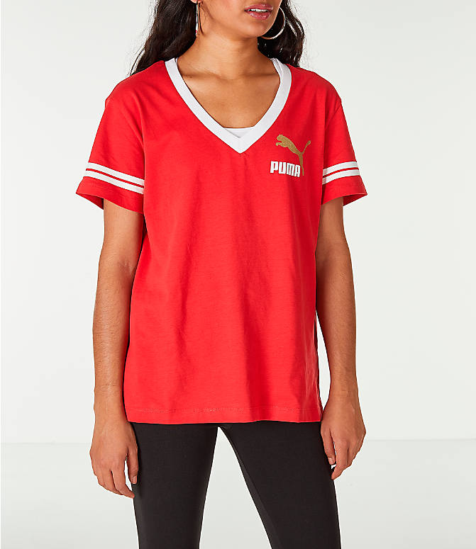 Front view of Women's Puma Retro Varsity T-Shirt in Red/White/Gold