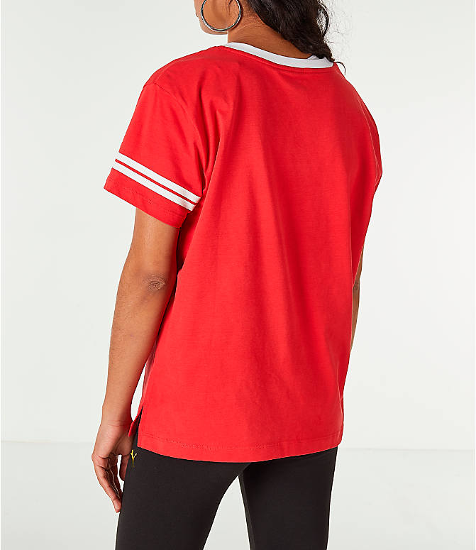 Back Left view of Women's Puma Retro Varsity T-Shirt in Red/White/Gold