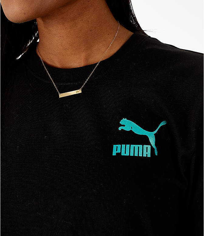 Detail 1 view of Women's Puma Retro Long Sleeve T-Shirt in Black/Teal