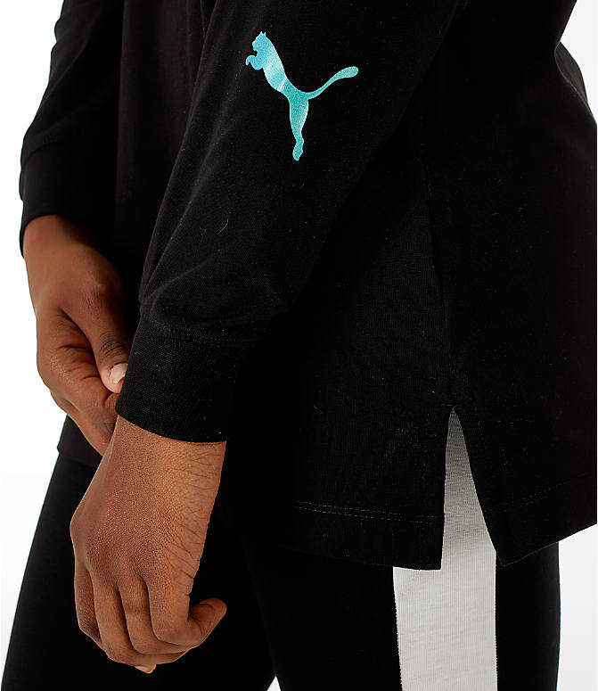 Detail 2 view of Women's Puma Retro Long Sleeve T-Shirt in Black/Teal