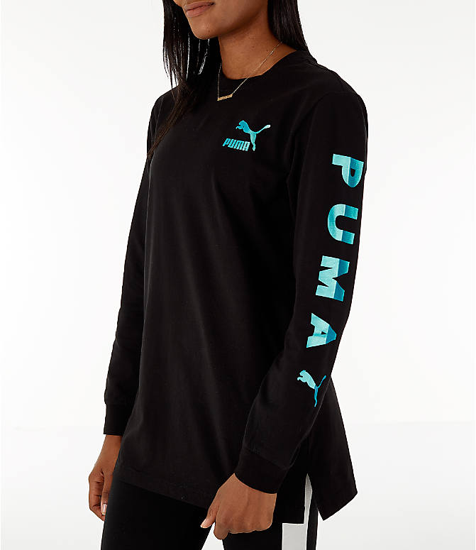 Front view of Women's Puma Retro Long Sleeve T-Shirt in Black/Teal
