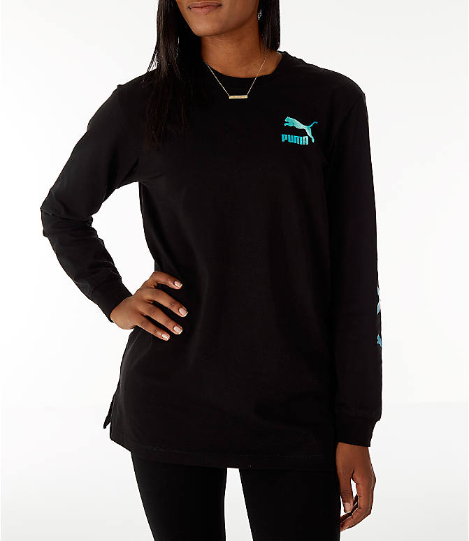 Front Three Quarter view of Women's Puma Retro Long Sleeve T-Shirt in Black/Teal