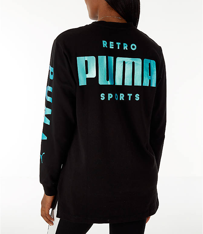 Back Left view of Women's Puma Retro Long Sleeve T-Shirt in Black/Teal