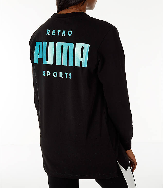 Back Right view of Women's Puma Retro Long Sleeve T-Shirt in Black/Teal