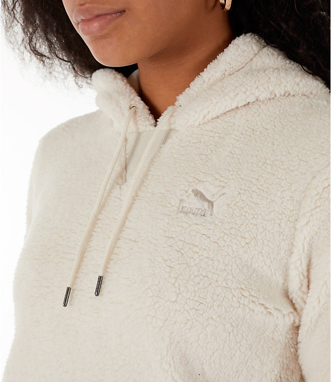 Detail 1 view of Women's Puma Sherpa Downtown Pullover Hoodie in Birch/White