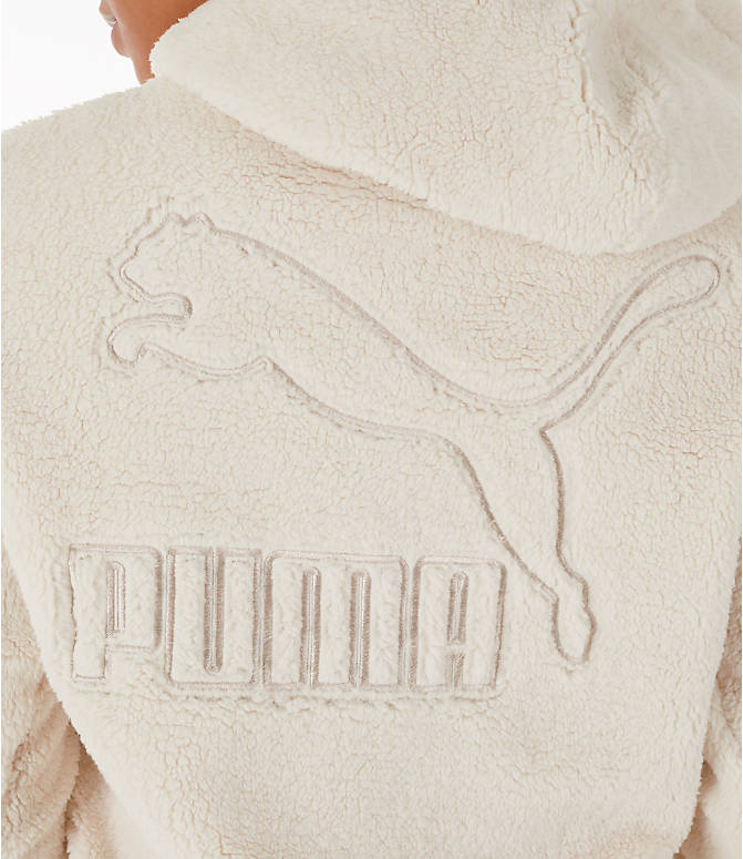 Detail 2 view of Women's Puma Sherpa Downtown Pullover Hoodie in Birch/White