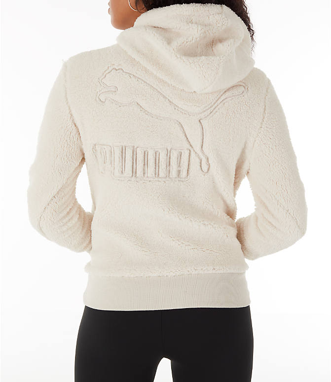 Front view of Women's Puma Sherpa Downtown Pullover Hoodie in Birch/White