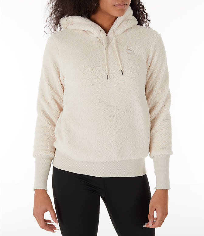 Front Three Quarter view of Women's Puma Sherpa Downtown Pullover Hoodie in Birch/White
