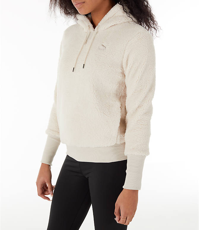 Back Left view of Women's Puma Sherpa Downtown Pullover Hoodie in Birch/White