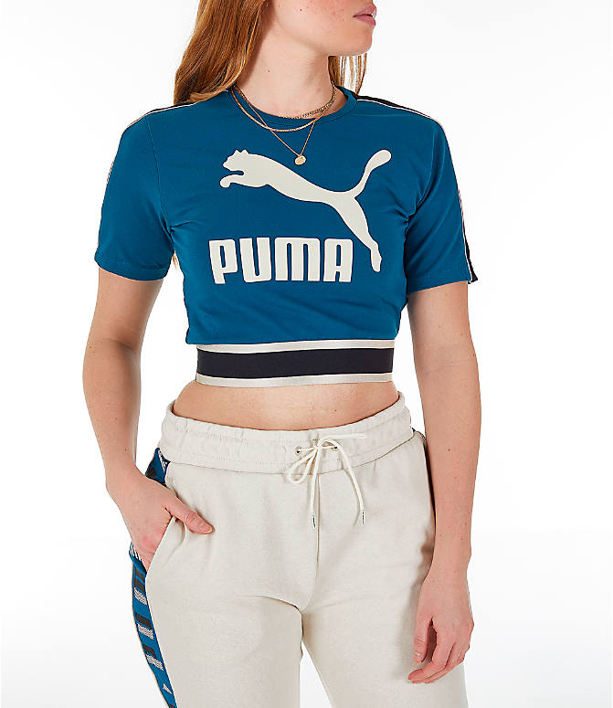 Front view of Women's Puma Revolt Cropped T-Shirt in Corsair/Blue