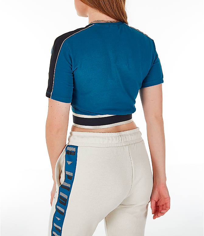 Back Left view of Women's Puma Revolt Cropped T-Shirt in Corsair/Blue