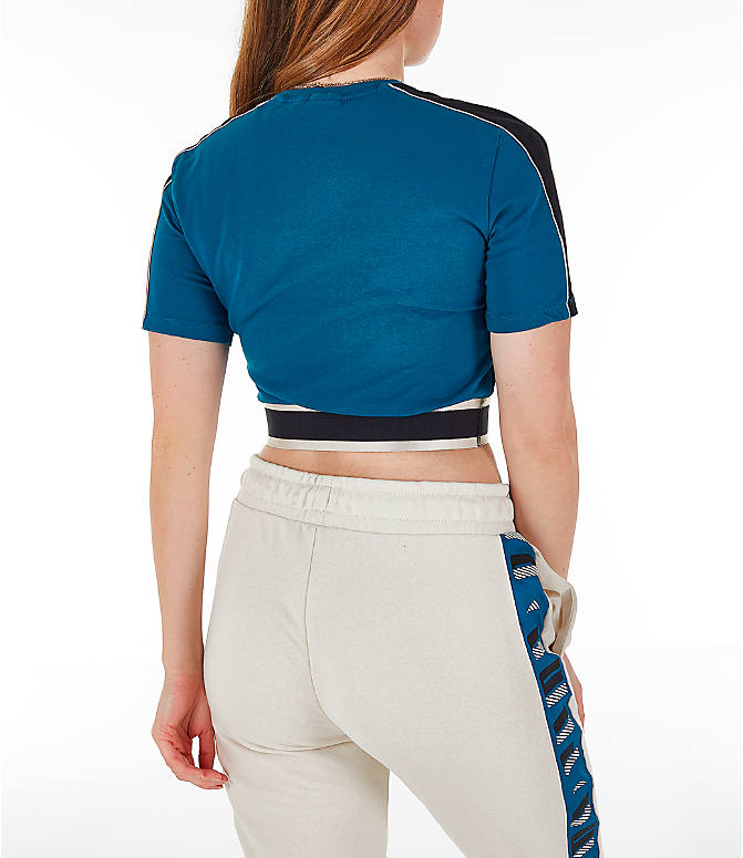 Back Right view of Women's Puma Revolt Cropped T-Shirt in Corsair/Blue