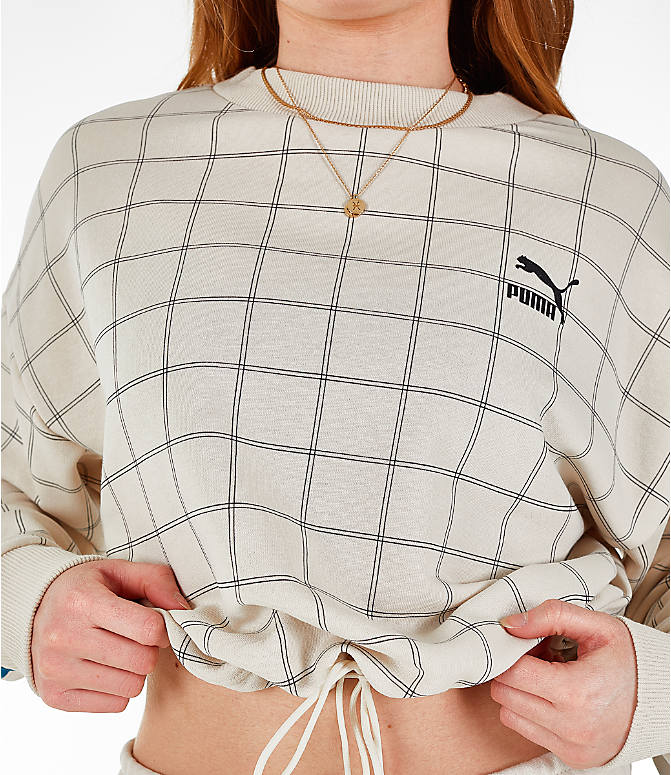 Detail 2 view of Women's Puma Revolt Cropped Crew Sweatshirt in Birch/White