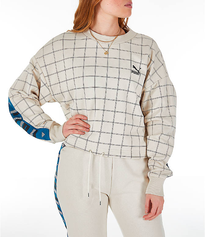 Front view of Women's Puma Revolt Cropped Crew Sweatshirt in Birch/White