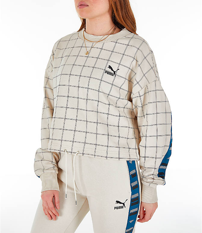 Front Three Quarter view of Women's Puma Revolt Cropped Crew Sweatshirt in Birch/White