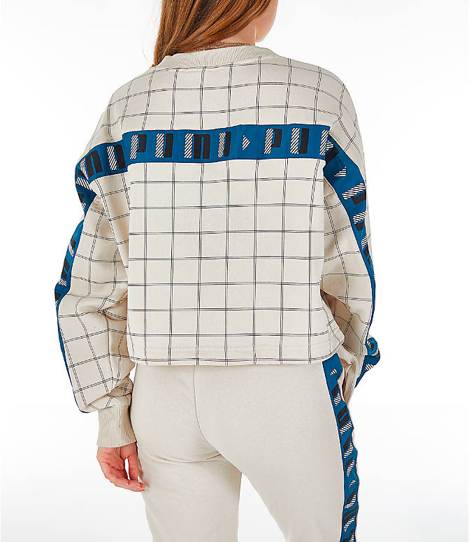 Back Right view of Women's Puma Revolt Cropped Crew Sweatshirt in Birch/White