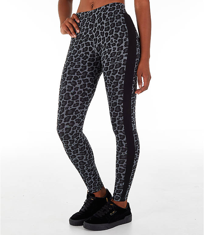 Front view of Women's Puma Wild Pack T7 Leggings in Black Print