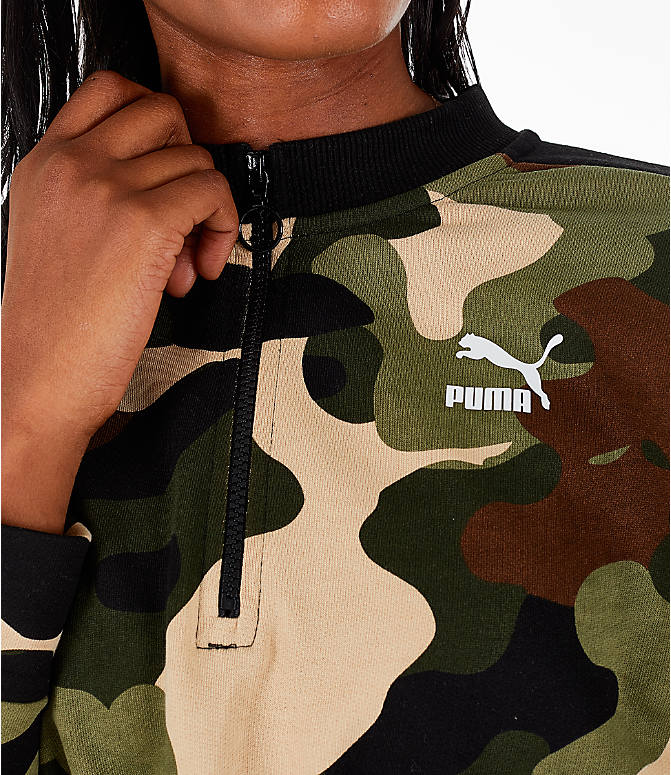 Detail 2 view of Women's Puma Wild Pack T7 Cropped Crew Sweatshirt in Green Camo