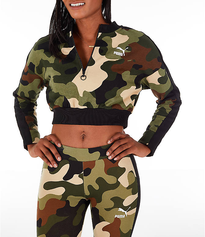 Front view of Women's Puma Wild Pack T7 Cropped Crew Sweatshirt in Green Camo