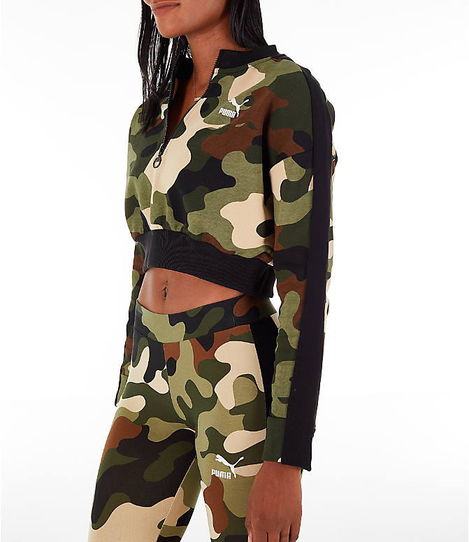 Front Three Quarter view of Women's Puma Wild Pack T7 Cropped Crew Sweatshirt in Green Camo