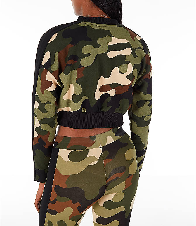 Back Left view of Women's Puma Wild Pack T7 Cropped Crew Sweatshirt in Green Camo