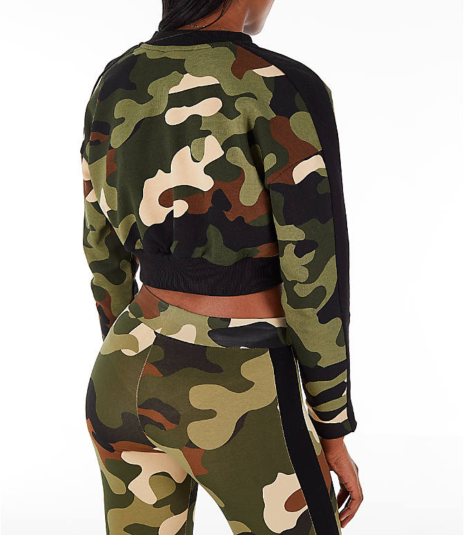 Back Right view of Women's Puma Wild Pack T7 Cropped Crew Sweatshirt in Green Camo