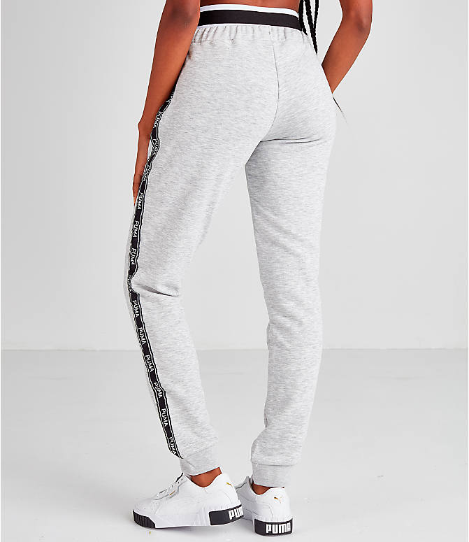 Back Left view of Women's Puma Tape Waistband Jogger Pants in Black