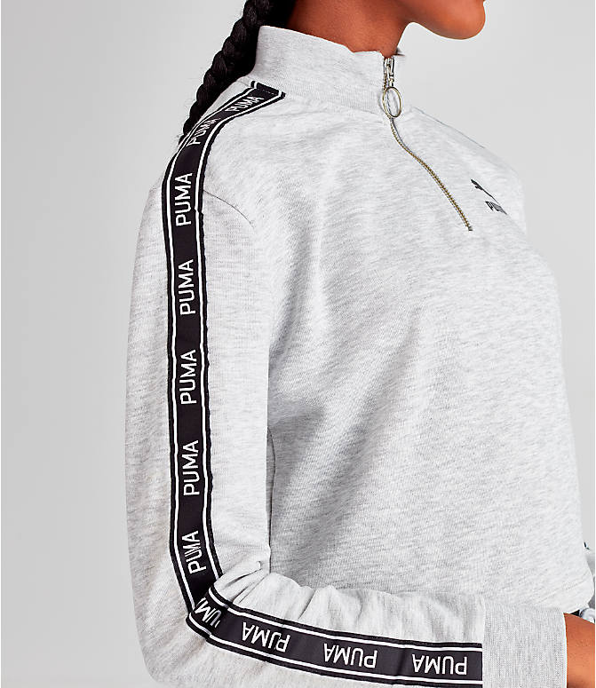 Detail 2 view of Women's Puma Tape Quarter-Zip Shirt in White/Black