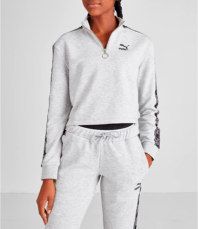 Front view of Women's Puma Tape Quarter-Zip Shirt in White/Black