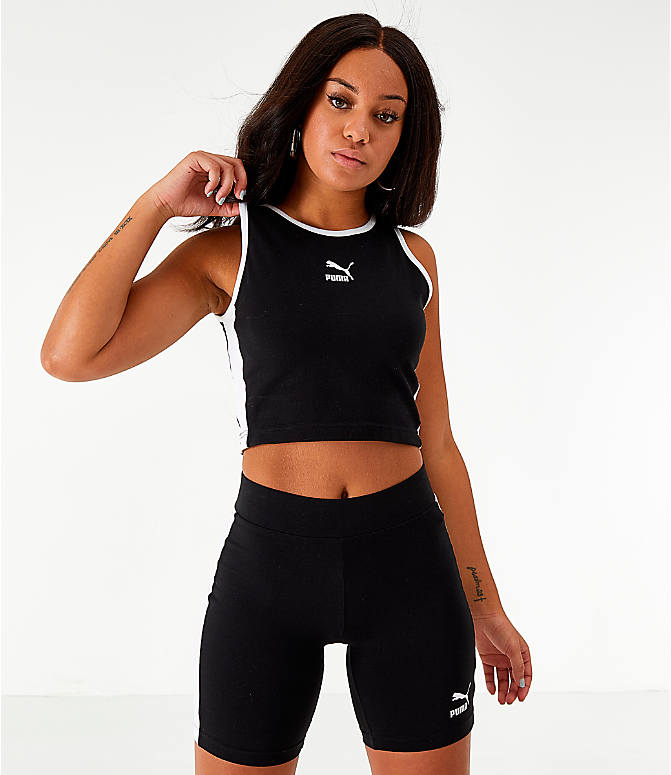 Front view of Women's Puma Classics T7 Cropped Tank in Black