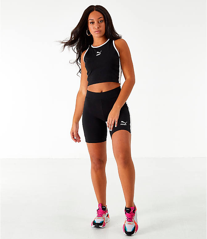 Front Three Quarter view of Women's Puma Classics T7 Cropped Tank in Black
