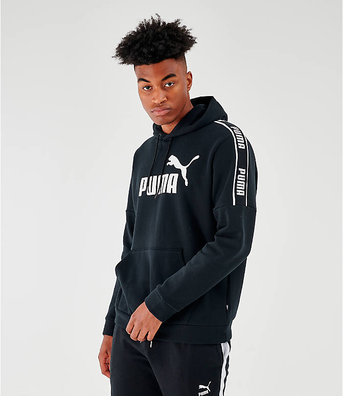 Front view of Men's Puma Amplified Hoodie in Black