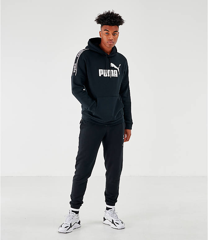 Front Three Quarter view of Men's Puma Amplified Hoodie in Black