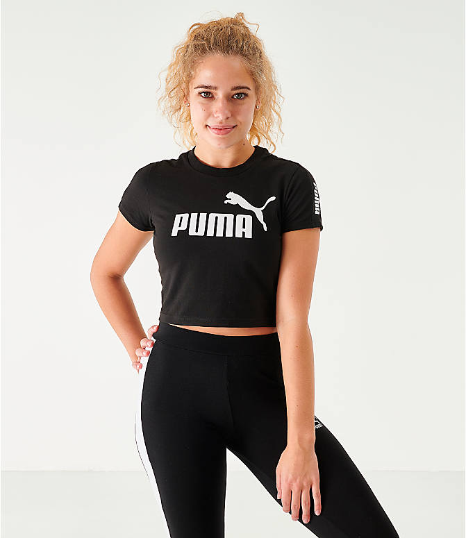 Front view of Women's Puma Amplified Fitted Logo Crop T-Shirt in Black