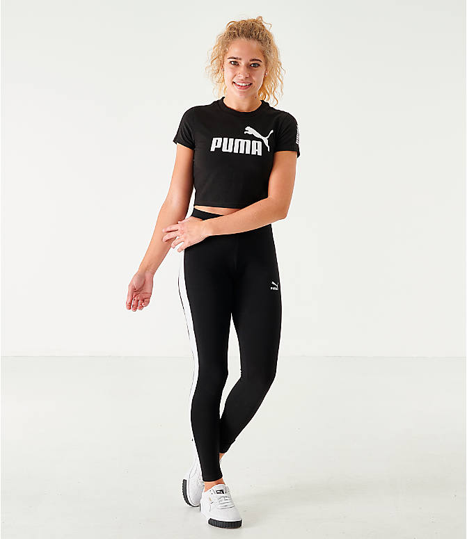 Front Three Quarter view of Women's Puma Amplified Fitted Logo Crop T-Shirt in Black