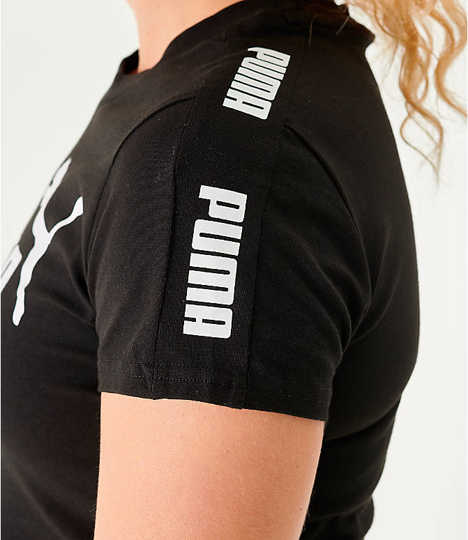 On Model 5 view of Women's Puma Amplified Fitted Logo Crop T-Shirt in Black