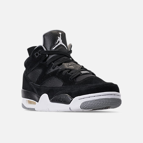Three Quarter view of Men's Air Jordan Son of Mars Low Off Court Shoes in Black/White/Particle Grey/Iron Grey